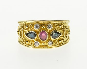 14k Ruby Sapphire Ornate Scroll Design Band Ring Gold