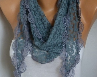 Valentine's Gift,Gray Lace Scarf, Shawl Cowl Scarf Bridesmaid Gift Gift Ideas For Her Women's Fashion Accessories