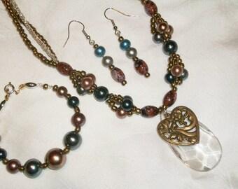 Brassy Heart Crystal Pendant Necklace Vintage Parts