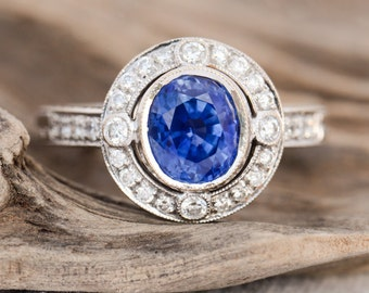 Estate 2 Carat Oval Sapphire and Diamond Engagement 18k white gold Ring