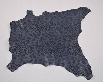 Blue Leopard Velvet Lamb Leather Skin