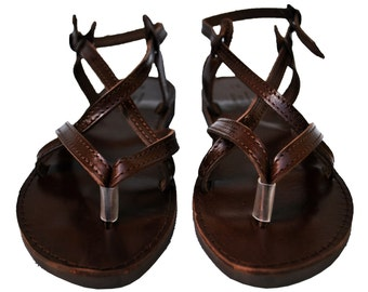 Dark Chocolate Brown Double Leather Sandals, Strappy women sandals