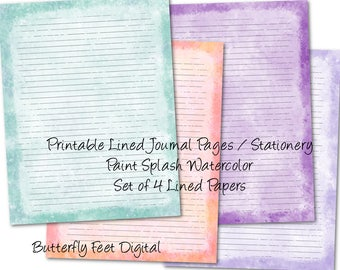 Printable Journal Pages, Lined Paper, Printable Stationery, Paint Splash Watercolor, Letter Size, Instant Download