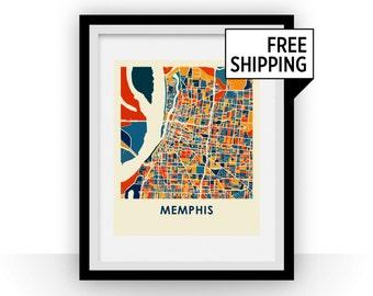 Memphis Map Print - Full Color Map Poster