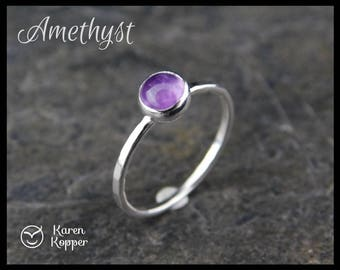 February birthstone ring - Amethyst Skinny sterling silver ring, 5mm stone, hammered, 1.2 mm ring. Skinny ring, thin ring, stacking ring.