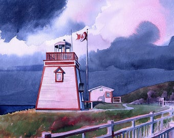 Fox Point Lighthouse, Newfoundland, Canada. White tower, blue clouds & Canadian flag. James Mann watercolor prints, 5x7 notecards.