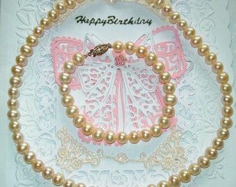 Pearl set, necklace ,bracelet, fresh water pearls, genuine, set, white pearls, vintage