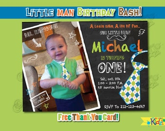 Little Man Birthday party Invitation-Little Man Party Invitation-First Birthday party-1st Mustache party-Mustache Birthday party