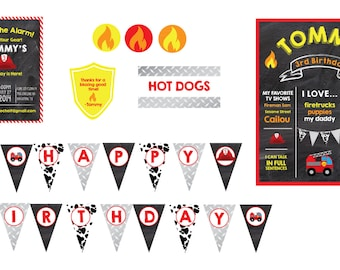 Fireman Birthday Party- Firefighter Birthday Theme- Fireman Party Theme- Fire Truck Party Theme