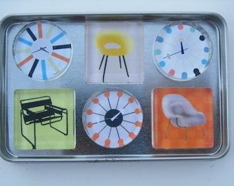 Mid Century Modern Fridge Magnets, MCM Refrigerator Magnets, Mid Century Fridge Magnets with Storage Tin, MCM Magnets
