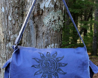 Sun Tribal Tattoo Messenger Bag -  Screen Printed Original Design