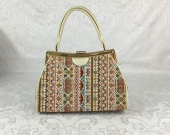 Vintage Dova USA Fabric Carpet Bag Tapestry Structured Top Handle Purse Metal Feet P22