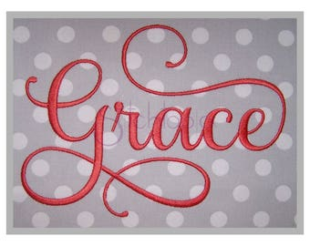 """Grace Embroidery Font #2 - 1"""" 1.5"""" 2"""" 2.5"""" 3"""" 4"""" - 11 Formats Machine Embroidery Fonts Script Embroidery Fonts - Instant Download Files"""
