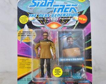 Vintage Star Trek The Next Generation Lt Commander Geordi LaForge In Dress Uniform Action Figure Playmates 6070 6026 1993 - Captain Picard