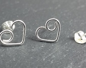 Tiny Sterling Silver Heart Studs