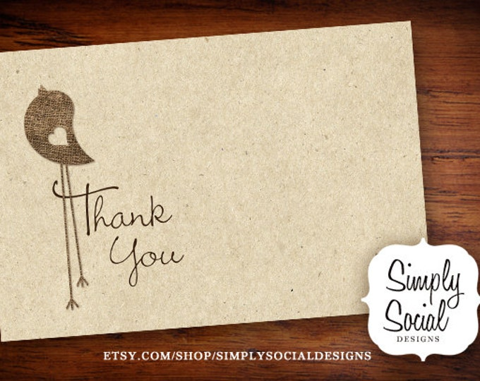 INSTANT DOWNLOAD Burlap and Kraft Paper Baby Bird Thank You Card