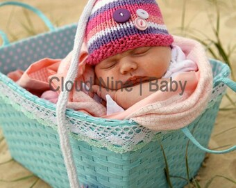 Baby Hat Knitting Pattern -- Cute as a Button Elf Hat -- Instant Download