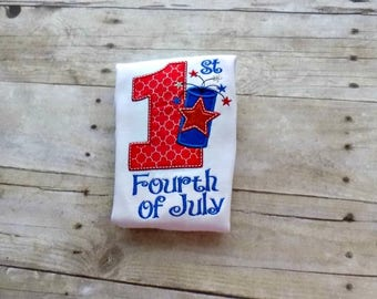 1st 4th of July, Baby, Infant Bodysuit, First Fourth of July, Red, White and Blue, Personalized, Embriodered Tshirt