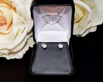 Striking, Natural, White Sapphire Earrings - 5mm Diamond Cut, Ceylon, Sri Lanka. 14K White Gold, 6-Prong Studs.  Case and Gift Box.  Wow!