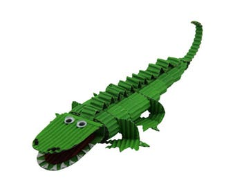 Creative Kit to make a crocodile made of corrugated cardboard / corrugated creative Kit DIY kids paper