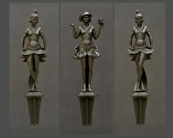 Three dancing girls in the art deco style, bronze with black patina