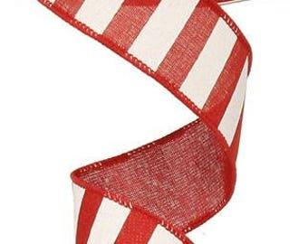 1.5 Inch Red White Horizontal Stripe Ribbon RX9148W7, Deco Mesh Supplies