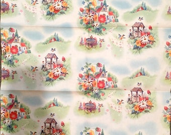 Vintage 1950s Wrapping Paper Unused Vintage Wrapping Paper Scandinavian Scene Paper Wishing Well