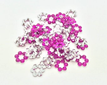 100 pcs Purple Floral Sew on Flatback Rhinestones