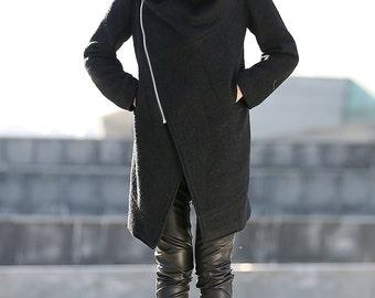 Winter coat, wool coat, cowl neck coat, asymmetrical coat, coat, winter coats, Black Winter Coat, women's winter coat, ladies coats  C162