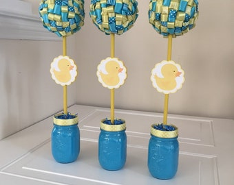 Yellow Duck Baby Shower Duck Ribbon Topiary Centerpieces Set of Three (3) Baby Shower Party Decorations Party Decor Baby Shower Centerpieces