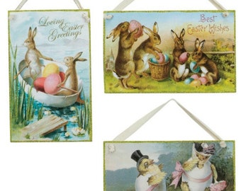 On Sale !!  Vintage Easter Postcard Hang-Ups-SET OF 3/Wreath Supplies/Easter Ornaments/17358