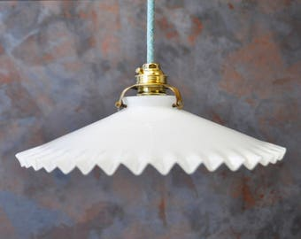 Antique french ceiling light in white opalescent glass - pendant lamp - opaline light