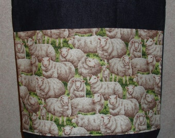 New Handmade Medium Sheep Lamb Farm Denim Tote Bag