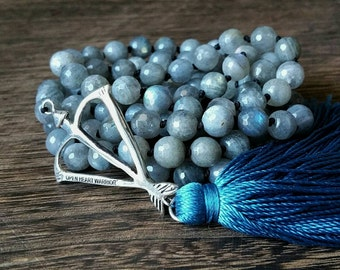 Faceted Lustrous Labradorite True North Mala Prayer Bead Necklace  / Eco-Friendly Jewelry