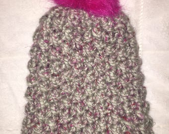 Grey with pink tweed slouchy