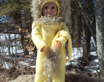 "18"" yellow Easter lion doll costume, yellow and tan lion doll costume, 2 piece lion costume, doll hood with tan curly fur,long lion tail"