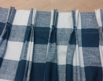 "Two 96""L Custom Curtain Panels With Pinch  Pleats -  Large Checks - Navy and White"