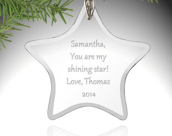 Personalized Star Glass Christmas Ornament