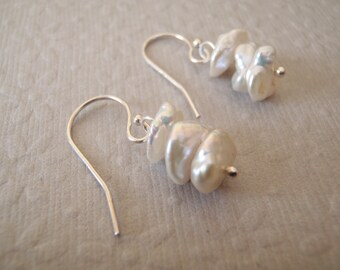 Ivory/White Keishi Pearl Stack & Sterling Silver Dangle Earrings