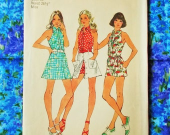 "Simplicity  Sewing Pattern - 1973  - Woman's halter-jumpsuit and short skirt - Size 12  bust 34"" - Mpn 5688 - part used & complete"