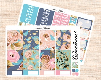 Blooming Little Weekly Kit (matte planner sticker, fits perfect in Erin Condren Life Planner Vertical)