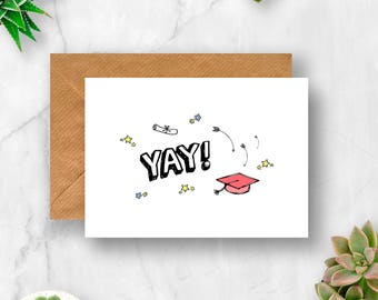 Yay! Graduation Card, Card for Graduation, Graduation Card, Graduate Card, You Did It, Congratulations Card, Congrats Card, Well Done Card