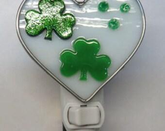 Shamrock Night Light - St. Patrick's Day Nightlight - Shamrock Heart Night Light