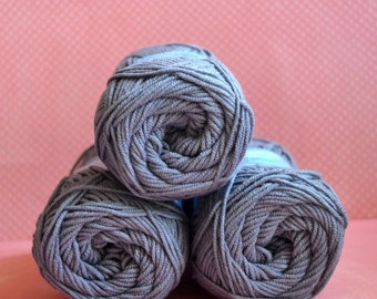 Kacenka - soft cotton/acrylic yarn for crochet and knitting, Grey color, No. 8834, 1 ball/50 g, Producer NCT
