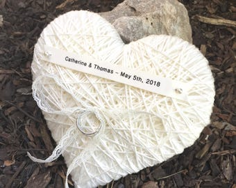 Heart Ring Bearer Pillow-6 inches- reuse wall hanging-wedding  pillow, wedding ring holder, wedding ceremony, wedding party, wedding gift