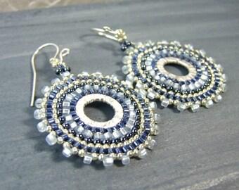 Blue Glass Earrings, Seed Bead Hoop Earrings Blue Earrings Boho Jewelry Bohemian Earrings Sterling Silver Handcrafted Earrings, Unique Gifts