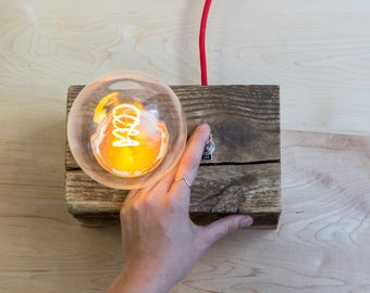 Reclaimed Wooden Accent Lamp with LED Edison Bulb
