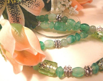 Fresh Mint, Green Glass Necklace