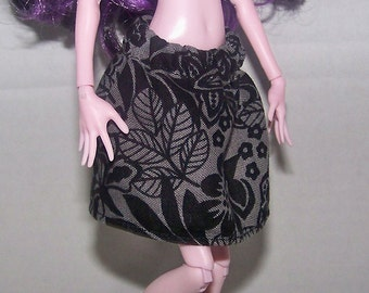 Handmade Monster High doll clothes - gray with black flower pattern skirt