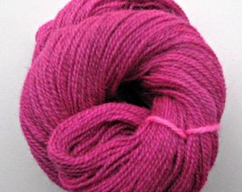 Alpaca / Wool Yarn, Hand Dyed, Fuchsia Pink, Fingering Weight, 245 yards